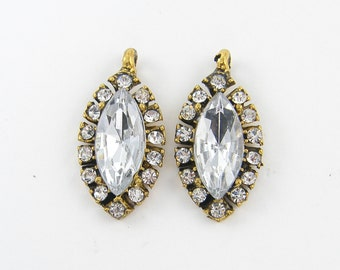 Clear Marquis Rhinestone Pendant Earring Finding Antique Gold Charm Drop Jewelry Component |G14-8|2