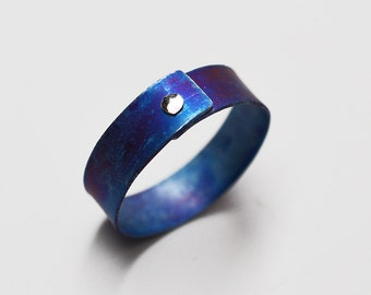1/4 inch wide heat anodized titanium single sterling silver rivet narrow band ring