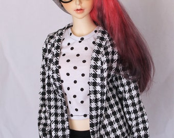 SD BJD clothes Black houndstooth sweater Cardigan by MonstroDesigns Ready to ship