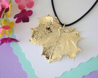 Gold Leaf Necklace, Real Leaf, Sugar Maple Leaf Pendant, Gold Maple Leaf Necklace, Real Leaf Necklace, 24kt Gold Dipped Leaf, LL116