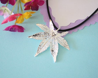 Real Silver Japanese Maple Leaf, Real Silver Leaf, Real Maple Leaf Necklace, Real Leaf, Sterling Silver, LL138