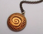 Golden Swirl Pendant Necklace, Handmade