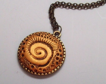 Golden Swirl Pendant Necklace, Handmade