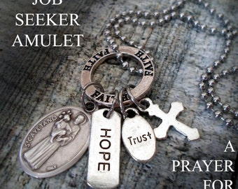 Patron Saint of Job Seekers, St. Cayetano, St. Cajetan, The Unemployed, Find Work Lucky Charm Necklace