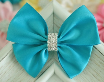 NEW! Set of 2pcs handmade Satin Bows--turquoise (GR1162)