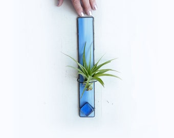 Stained Glass Air Plant Holder -Sky Blue