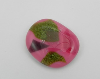 Fused Glass Cabochon - Pink and Green - 1589 BE