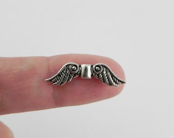 20 Angel Wings Pewter Beads - Antiqued Silver - 7mm x 23mm