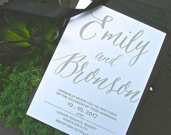Wedding Invitation, Gray Invitation, Wedding Invitations, Modern invitation, Clean invitation