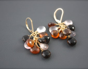 Carnelian,Smokey Topaz and Rose Quartz Cluster Earrings,Smokey Earrings,Fall Color Earrings,Gold Filled Earrings, Delicate Earrings, Dainty