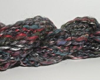 Handspun Art Yarn - Wool, Soysilk, Bamboo, Ramie - 46 yds.