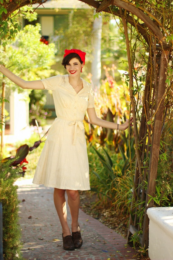 1940s Style Dresses and Clothing 40s style unlined cotton shirt-dress--custom fit $225.00 AT vintagedancer.com