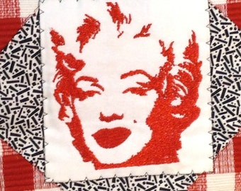 Marilyn Monroe Handbag,  Red White and Black Purse with Beaded Handles,  Embroidered Marilyn Monroe,  Placemat Purse, Small Fabric Handbag