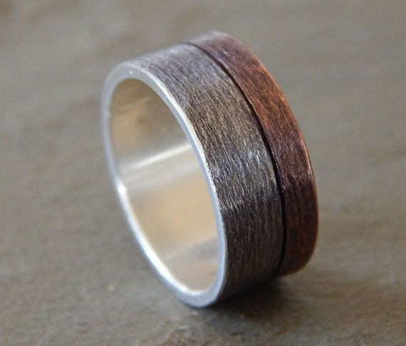 Moonlight silver copper 6 9mm men39s wedding ring for Mens copper wedding rings