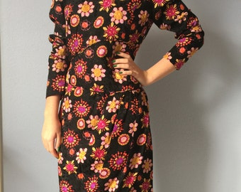 Vintage Carolina Herrera Dress -Silk - 1980s Floral - Size 4