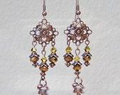 Antique Copper Crystal Beaded Chandelier Earrings,Brown Bead Earrings,Copper Earrings,Dangle Earrings,Bohemian