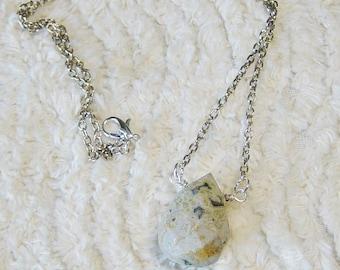 Jasper Bead Necklace, Silver Chain Pendant Necklace, Gray Jasper Stone Necklace, Pendant Chain Necklace, Boho, Minimalist, Rustic