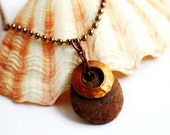 River Rock Pendant Hammered Copper Oxidized Washer Repurposed Charm Eco Friendly Natural Reclaimed Beach Stone Necklace Jewelry by Hendywood