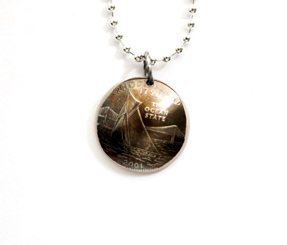 rhode island state quarter pendant 2001 domed coin by