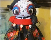 Day of the dead skull free-standing Doll Whimsical creepy halloween cute country home decor Farm Quirky Primitive doll hafair ofg team