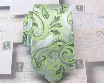 Green Paisley Ties. Wedding Ties. Narrow Ties. Silver Greeen Paisley Men's Tie. Neckties