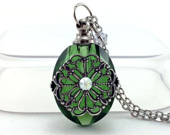 Essential Oil Diffuser Necklace, Green Glass Filigree, Oval Perfume Bottle, Diffuser Pendant, Aromatherapy Jewelry, Swarovski Crystals