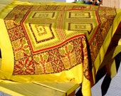 Vintage Ethnic Tablecloth or Fabric Pakistan tiles Reds Yellows