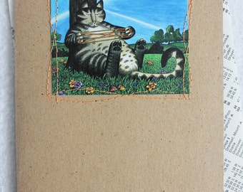 Cat Card / Blank Greeting Card Recycled Card by PrairiePeasant