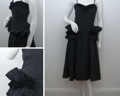"""1940s Dress Vintage Black Faille and Velvet Ruffle Trim Gown Original 40s WWII Swing Dress Fit and Flare Bust 33"""" Size XS UK 8"""