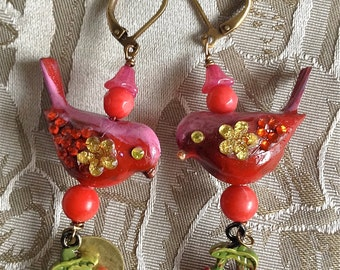 Lilygrace Scarlet, Pink and Coral Bird Earrings with Real Coral Beads and Cherries