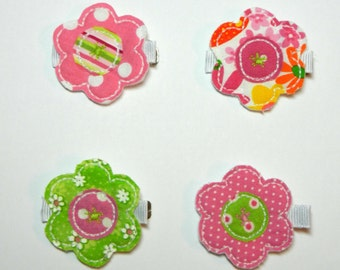 Shabby Flower Hair Clip - Pinks and Greens - Your Choice