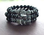 Pyrite Nugget & Black Lava Rock with Hematite Bracelet Unisex Perfect For A Man or Woman