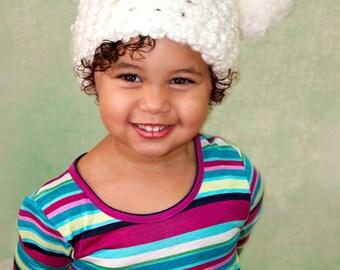 9 Sizes White Pom Pom Hat Baby Hat Baby Girl Hat Toddler Hat Toddler Girl Hat Womens Hat Photo Prop Photography Prop Winter Hat Fun