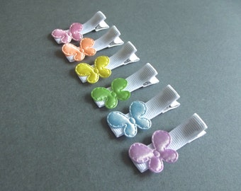 6 Butterfly Hair Clips Rainbow Hair Clips Pastel Butterfly White Hair Clips Pink Hair Clips Peach Yellow Green Blue Purple Spring Easter