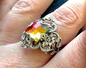 oS ISABEL So vitrail and silver medieval ring