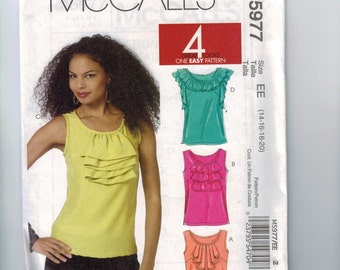 Misses Sewing Pattern McCalls M5977 Misses Easy Tank Top with Ruffles Size 6 8 10 12 14 16 18 20 Bust 30 32 34 36 38 40 42 UNCUT  99