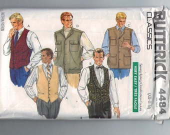 1980s Vintage Sewing Pattern Butterick 4484 Mens Easy Vest Tuxedo Fishing Cargo Pockets Size XS S M Chest 30 32 34 36 38 40 1989 80s