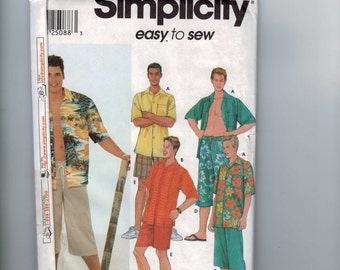 Mens Sewing Pattern Simplicity 9751 Shorts in Two Lengths and Shirt Size S M L Xl Chest 34 36 38 40 42 44 46 48 Uncut  99