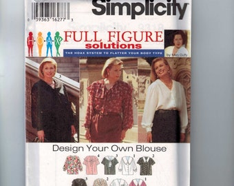 Womens Sewing Pattern Simplicity 9318 Womens Design Your Own Blouse V Neck Collar Plus Size 18W-24W Bust 40-46 UNCUT  99