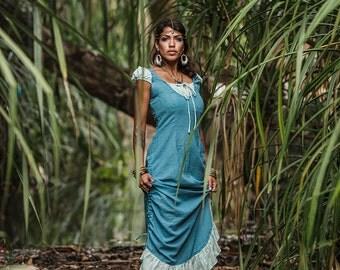 ESMERALDA LINEN DRESS - Boho Bohemian Hippie Romantic Summer Prom Gypsy Shabby chic Mori Wedding Bride Witch Fairy Ruffle - Light Sky Blue