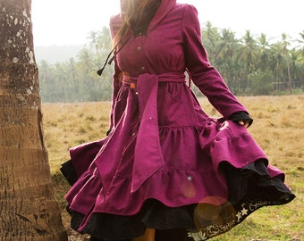 TWILIGHT WOOL JACKET - Boho Long coat Hippie Steampunk Steam punk Bohemian Faery Fairy Pixie Lolita Babydoll Gypsy Witch Plus size - Pink