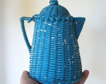 Vintage Wicker Coffee Pot