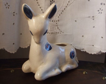Shy Deer Pottery Figurine Planter Blue and White