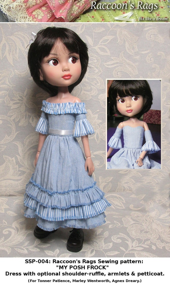 STRAIGHTFORWARD SEWING Pattern- SSP-004: Posh frock, petticoat, armlets for Tonner Patience, Marley Wentworth & Agnes Dreary.