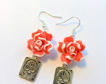 Sugar Skull Earrings Day of the Dead Red White Rose Silver