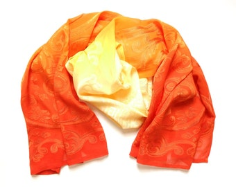 Ombré dyed silk scarf with chinoiserie koi fish design in red orange and golden yellow