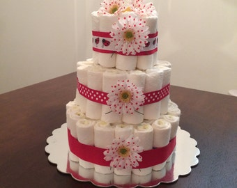Lady Bug Diaper Cake Red And White Cake Baby Accessories Party Centerpiece Girl Diaper Cake