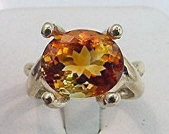 AAAA Golden Orange Citrine   11.9x10mm  5.13 Carats   in 14K Yellow gold - ELKE- ring 0414