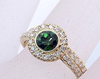 AAA Chrome Green Tourmaline   5.0mm  .54 Carats   14K Yellow gold diamond bridal set 0868