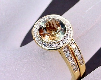 AAA Smokey Quartz   7.00mm  1.24 Carats   Round 14K Yellow gold diamond Halo bridal set. B007  0784